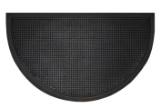 Fingertip heavy duty half round rubber doormat 45 x 75 cm for outside use. Colour black.