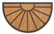 Robust and original natural Coconut Fibre Bombay Classic Doormat Sun half round 45 x 75 cm. Colour natural.