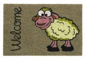 Robust and original natural coconut fibre doomat Welcome Sheep, beige 40 x 60 cm