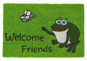 Robust and orignal natural coconut fibre doormat Welcome Frog, green 40 x 60 cm
