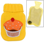 YELLOW Mini Gel Pack Hand Warmer And Sweater Style Cover With Cup Cake Design Applique