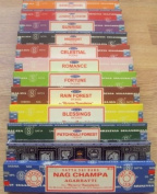 Satya Sai Baba / Nag Champa variety carton of mixed incense 12 x 15grm boxes of incense 1 each of nag champa, celestial, midnight, patchouli forest, sandalwood, sunrise, romance, blessings, fortune, jasmine blossom and rain forest also woo ..