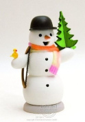 German Incense Smoker Snowman with Pine and Saw, 13cm