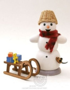 German Incense Smoker Snowman with Sled and Mouse, 13cm