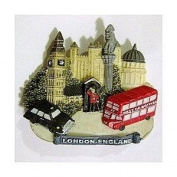 London Collage Magnet Souvenir Gift England Red Bus Black Taxi Big Ben Nelson