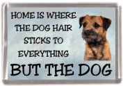 "Border Terrier Dog Fridge Magnet ""HOME IS WHERE THE DOG HAIR STICKS TO EVERYTHING BUT THE DOG"""