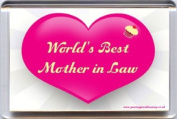 """""""World's Best Mother in Law"""" Fridge Magnet. A Unique, Original Gift Idea from Yummy Grandmummy. Would make an original Birthday or even Wedding Day Gift for less than the cost of a card for the mother in law who is so often forgotten! .."""