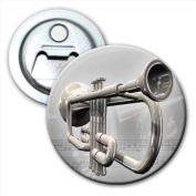 Trumpet With Musical Notes in Background Bottle Opener Fridge Magnet