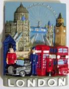 London Collage Fridge Magnet Souvenir Bus Taxi Cab Phone Box Post Box Big Ben Tower Bridge St Pauls Eye
