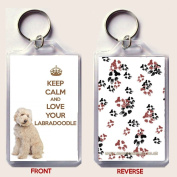 KEEP CALM AND LOVE YOUR LABRADOODLE Keyring with an Image of a Cream Labradoodle. An original Birthday or Christmas stocking filler gift from our keep Calm and Carry On Range.