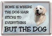 "Golden Retriever No 3 Fridge Magnet ""HOME IS WHERE THE DOG HAIR STICKS TO EVERYTHING BUT THE DOG"""