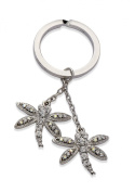 Jodie Rose Clear Crystal and Aurora Boreale Double Dragonfly Keyring
