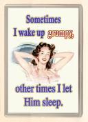 Sometimes I wake up Grumpy sometimes I let him sleep....Large Fridge Magnet