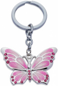 Jodie Rose Crystal Butterfly Keyring, Pink