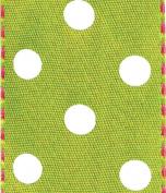 Caspari Entertaining with Caspari Satin and Dots Wired Ribbon, Green/ Pink