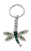 Jodie Rose Crystal Dragonfly Keyring, Green