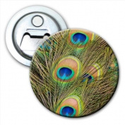 Peacock Feathers Bottle Opener Fridge Magnet