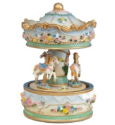 Musicbox World 14135 Carousel with Flowers Playing Blue Danube