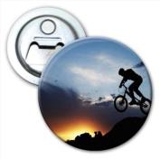 Silhouette of BMX Bike Rider Jumping Off Rock Bottle Opener Fridge Magnet