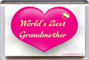 """""""World's Best Grandmother"""" Fridge Magnet A Unique, Original Gift Idea from Yummy Grandmummy. Would make an original Birthday Gift Idea for less than the cost of a card!"""