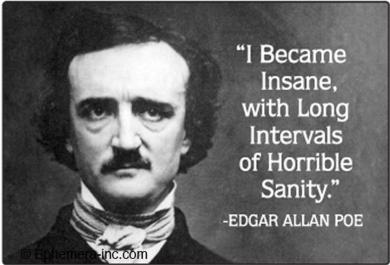"""Edgar Allen Poe """"I Became Insane..."""" fridge magnet"""