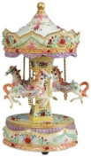 Musicbox World 14039 Carousel Beige with Red Gem Playing Blue Danube