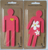 2 Bendable Flexible Pink Magnetic Hooks His & Hers