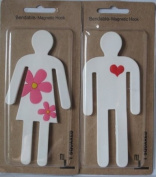 2 Bendable Flexible White Magnetic Hooks His & Hers