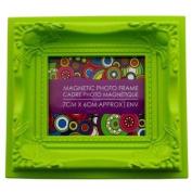 7cm x 6cm Ornate Magnetic Photo Frame - Lime Green