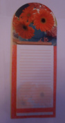 Gerbera flower magnetic list pad note fridge magnet with pencil Board Backed