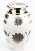 Urns UK 25cm Brass Cremation Urn Adult Brampton, White