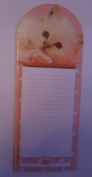 Cute White Cat pink magnetic list pad note fridge magnet with pencil Board Backed