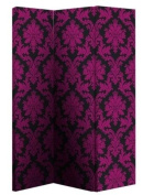 Arthouse Room Divider Screen 3 Panels 2 Fold Black and Pink Damask 150cm x 120cm x 2.5cm