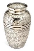 Urns UK 25cm Brass Cremation Urn Adult Banbury, Nickel