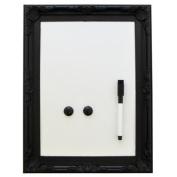 Magnetic Wipe Board Orante Style Frame with Pen Eraser - Black