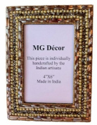 Mg Décor 10.16 x 15.24 cm Copper And Gold Beads/ Bangles Photo Frame, Copper and Gold Beads