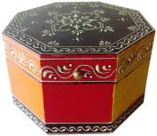Mg Décor 15.24 cm Handpainted Flower Design Wooden Octagonal Gift/ Jewellery Box
