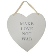 New England Heart Plaques Signs - Make Love Not War - Large 23cm x 22cm