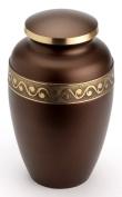 Urns UK 25cm Brass Cremation Urn Adult Derby, Chocolate