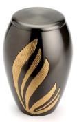 Urns UK 25cm Brass Cremation Urn Adult Newbury, Black
