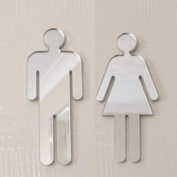 MALE & FEMALE WC MIRROR DOOR SIGNS 12cm each, funky acrylic mirrors