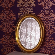 OVAL CARVED WOOD BAROQUE FRAME BEVELLED WALL MIRROR from XTRADEFACTORY in distressed antique gold