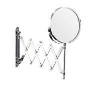 Axxentia Bathroom 282802 Magnifying Wall Mirror Chrome Round 17 cm Diameter 3 times Magnification 57 cm Extendible
