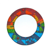 Round Abstract Rainbow Mosaic Mirror