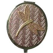 Vanity Fair Luxury Silver Mirror Compact With Austrian Crystals - Dragonfly