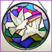 Decorative Hand Painted Stained Glass Window Sun Catcher/Roundel in a Doves of Peace Design.