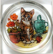 Decorative Hand Painted Stained Glass Paperweight in a Kitten and Geraniums Design.