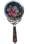 Handheld hand mirror, handmade mother of pearl gift, rose