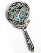 Handheld hand mirror, mother of pearl gift, Jade butterfly