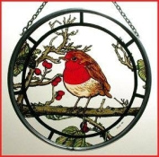 Decorative Hand Painted Stained Glass Window Sun Catcher/Roundel in a Fat Robin Design.